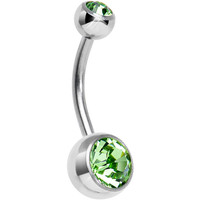 Green Mermaid Double Gem Titanium Belly Ring 1/2"