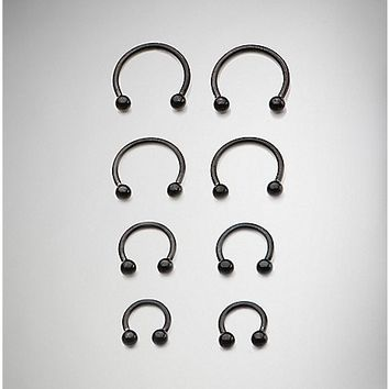 16 Gauge Black Horseshoe Ring 8 Pack - Spencer's