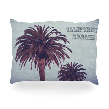 "Ann Barnes ""California Dreams"" Blue Brown Oblong Pillow"