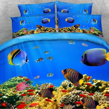 JF-175 Deep Ocean Colorful Tropical Fish print 3D bedding sets for kids adult