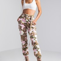 AKIRA High Rise Cuffed Hem Belted Denim Cargo Pants in White Pink