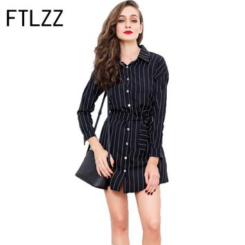 2018 Striped Woman's Shirt Dress Body Repair Belt  A-line Mini  Turn-down Collar  Spring Ladies Long Sleeve Ladies British Style
