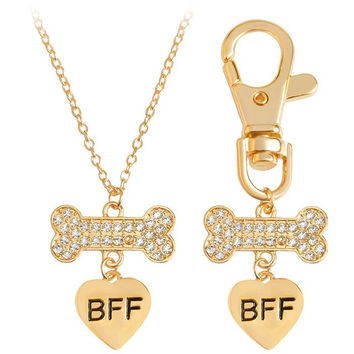 Best Friends Forever Crystal Dog Bone Charm Necklace & Keychain Set