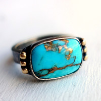 Turquoise Gold and Silver Ring | Rachel Pfeffer