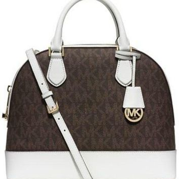 MICHAEL Michael Kors Smythe MK Logo Brown White Dome Satchel Bag New $358