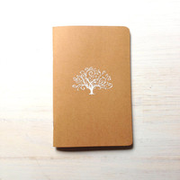Notebook: Tree, White, Embossed, Unique, Tree of Life, Journal, Pocket Notebook, Jotter, Kraft, Brown, Simple, Gift
