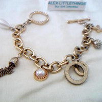 Gold Tone Guess Charm Bracelet Designer Signed Jewelry Fashion Accessories For Her