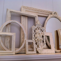 White Shabby Chic Vintage Frame And Mirror Set Mother Goose Open Frames Gallery Wall Frames