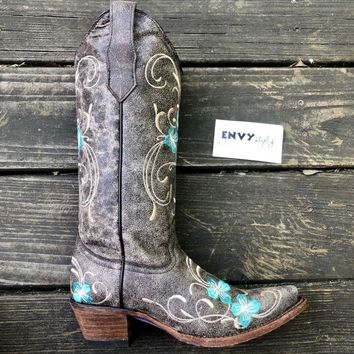Corral Brown Turquoise Floral Embroidery Boot