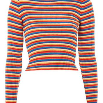 Rainbow Striped Knitted Top - New In Fashion - New In