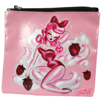 Rockabilly Pinup Strawberry Kiss Pinup Girl Flat Makeup Bag / Cosmetic Pouch