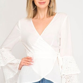 Women's Wrap Blouse with Lace Sleeves