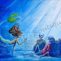 Fantasy Art, Watercolor Painting, Print, A Mermaid's Find