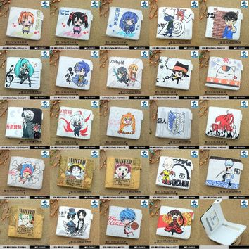 White Anime One Piece/LoveLive/Naruto/Conan/Miku/Date A Live/Tokyo Ghoul/Fairy Tail etc Horizontal Wallet/Short Purse W-Button