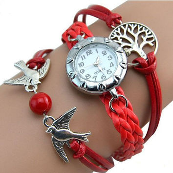 Love Birds Watch with Life Tree charm, Multi Layer Bracelet, Women's Quartz Watch. White or Red Bracelet watch. Friendship Watch