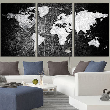 Metalic Black Backgrounded White Modern World Map Canvas Print - Contemporary 3 Panel Triptych Black and White World Map Canvas Art