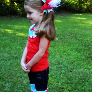 Over the top bow Hair bow, Red, Aqua, White, Custom, Made to Match Hair bow, Stacked boutique hair bow, Curly ostrich