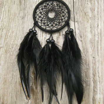 FREE SHIPPING Black Car Dream Catcher // Small Black Dream Catcher // Rear Mirror Dreamcatcher //Native American Hanging