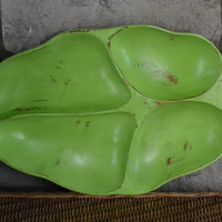 Large Hand Painted Green Leaf-Shaped WoodenTray
