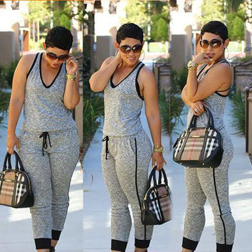 Hot Sale Stylish Slim Jumpsuit Sportswear Set [6338685124]
