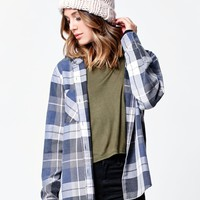 LA Hearts Hooded Flannel Button-Down Shirt - Womens Shirts - Plaid