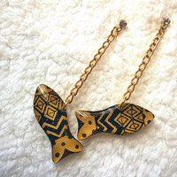 GOLDEN AZTEC FISH EARRING FOR WOMEN