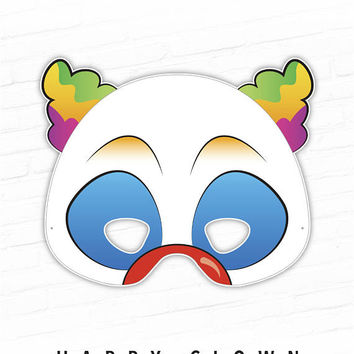 Halloween Mask, Clown Printable Mask, Happy Clown, Circus Party, Clown Costume, Circus Clown Carnival, Masquerade, Photo Booth Props, Kids