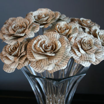 Book Page Flowers, Upcycled Paper Roses, Rustic Floral Arrangement, One Dozen