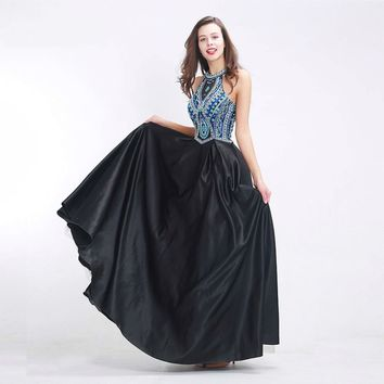 Formal Black Evening Dresses Long Halter Sleeveless Backless A-line Prom Party Gowns