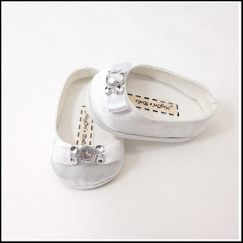 American Girl Doll White Satin Shoes, Bridal Shoes, First Communion, Flower Girl, Princess Slip On, Ballet Flats