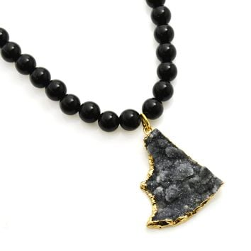 Black Onyx Bead Necklace with Druzy