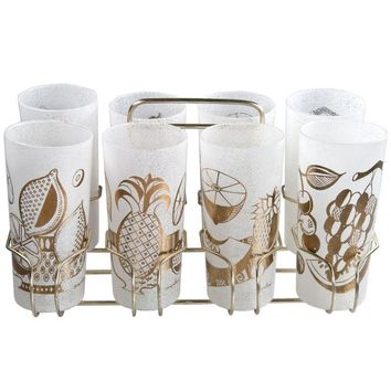 Pre-owned Eight Georges Briard Fruit Glasses With Caddy
