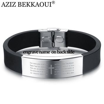 AZIZ BEKKAOUI Stainless Steel Black Silicone Bracelets For Men Punk Cross Bracelets & Bangles 16MM Wide Bangle Engrave Name