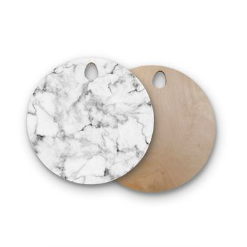 "KESS Original ""White Marble"" Round Wooden Cutting Board"
