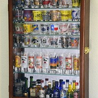 Large Mirror Backed and 7 Glass Shelves Shot Glasses Display Case Holder Cabinet , Walnut