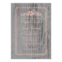 Coral Rustic Country Burlap Wedding Invitations