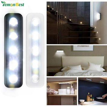LemonBest Mini Wireless Night Light 5-LED Cabinets Lamp Battery  Operated Wall Light for Stairway Bathroom Closet Home Lighting