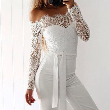 Sexy Women Summer Lace Jumpsuit Long Sleeve Off Shoulder Sexy Party Clubwear Playsuit Bodycon Party Sexy Jumpsuits