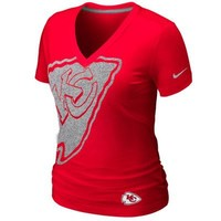 Nike Kansas City Chiefs Ladies Tri-Blend Reverse Logo T-Shirt - Red