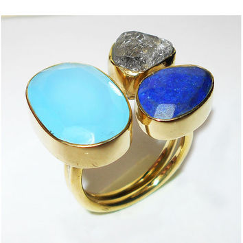 Lapis Lazuli Ring - Aqua Blue Chalcedony Ring - Rough Stone Ring - Herkimer Diamond Ring - 18K Gold Vermeil Ring - Fatceted Gemstone Ring
