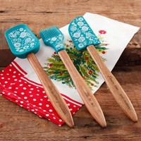 The Pioneer Woman 3-Piece Silicone Head Utensil Set with Acacia Wood Handle - Walmart.com
