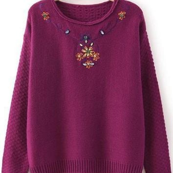 New Women Flowers Embroidery Beading Pullover