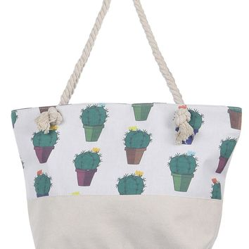 Cactus Canvas Soft Rope Beach Bag