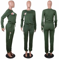 Champion Women Printed Letter Tracksuit Causal Green Lace up Shrink Waist Jumpsuit O-Neck Loose Long Sleeves Zipper Jumpsuits