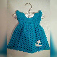 Infant Newborn Girl 0-3 months Pinafore Dress with Anchor applique