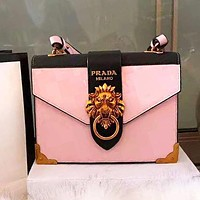 PRADA High Quality Fashionable Women Shopping Bag Leather Lion Head Shoulder Bag Crossbody Satchel Pink