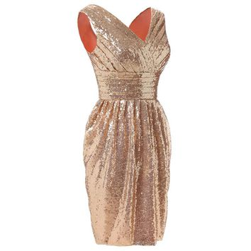 Gold Pleat Flowers Sequined Bling Sleeveless Zipper Straight Cocktail Dress Knee Length Formal Dress Party Gown