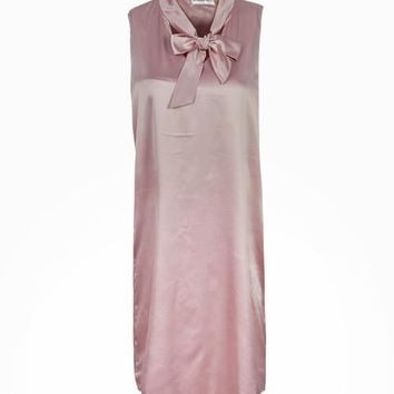 Pink Neon Rose Pussybow Dress Keyhole Elegant Pink Shift Dress With Bow Silk Front Sleeveless Summer Straight Casual Dress