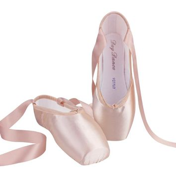 Girls Ladies Ballet Pointe Shoes Adult Women Professional Satin Ballet Dance Shoes With Ribbon