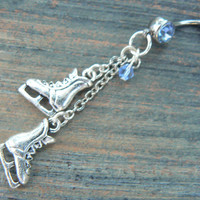 ice skates belly ring LIGHT BLUE crystal winter hockey frozen ice skating Christmas  fantasy belly dancer  and hipster style